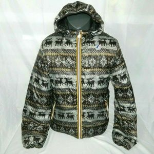 K-Way Winter Sweater Reindeer Pattern jacket L